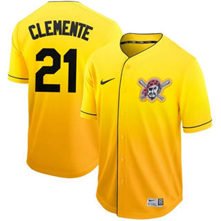 Men's Pirates #21 Roberto Clemente Gold Fade  Stitched Baseball Jersey