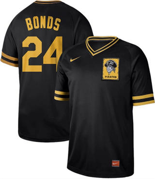 Men's Pirates #24 Barry Bonds Black  Cooperstown Collection Stitched Baseball Jersey