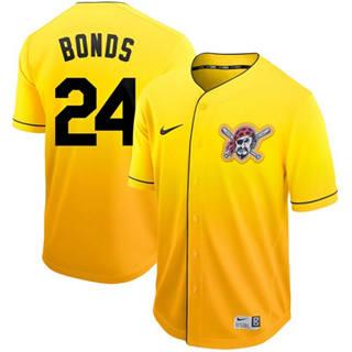 Men's Pirates #24 Barry Bonds Gold Fade  Stitched Baseball Jersey