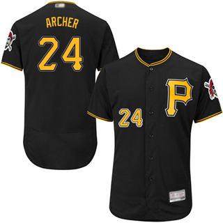 Men's Pirates #24 Chris Archer Black Flexbase  Collection Stitched Baseball Jersey