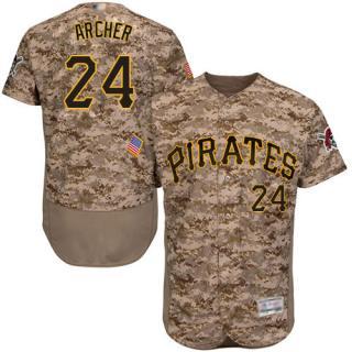 Men's Pirates #24 Chris Archer Camo Flexbase  Collection Stitched Baseball Jersey