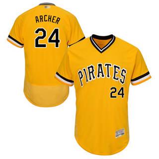 Men's Pirates #24 Chris Archer Gold Flexbase  Collection Stitched Baseball Jersey
