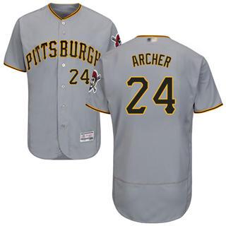 Men's Pirates #24 Chris Archer Grey Flexbase  Collection Stitched Baseball Jersey