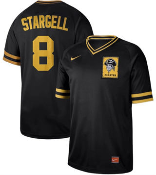 Men's Pirates #8 Willie Stargell Black  Cooperstown Collection Stitched Baseball Jersey
