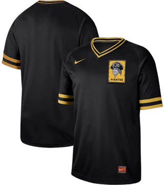 Men's Pirates Blank Black  Cooperstown Collection Stitched Baseball Jersey