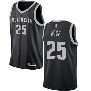 Men's Pistons #25 Derrick Rose Black Basketball Swingman City Edition 2018-19 Jersey