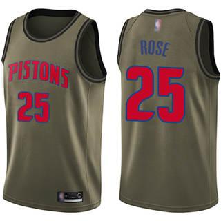 Men's Pistons #25 Derrick Rose Green Basketball Swingman Salute to Service Jersey