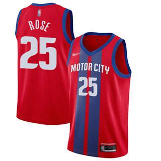 Men's Pistons #25 Derrick Rose Red Basketball Swingman City Edition 2019-2020 Jersey
