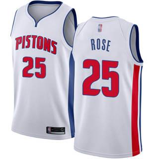 Men's Pistons #25 Derrick Rose White Basketball Swingman Association Edition Jersey