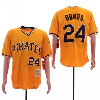 Men's Pittsburgh Pirates #24 Barry Bonds Gold Cooperstown Collection Jersey