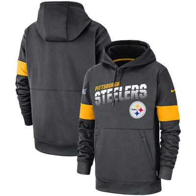 Men's Pittsburgh Steelers Sideline Team Logo Performance Pullover Hoodie - Anthracite