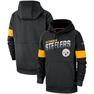 Men's Pittsburgh Steelers Sideline Team Logo Performance Pullover Hoodie - Black