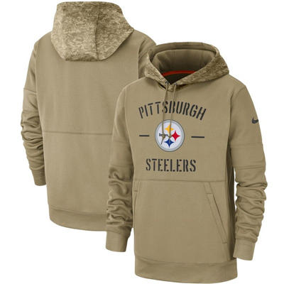 Men's Pittsburgh Steelers Tan 2019 Salute to Service Sideline Therma Pullover Hoodie