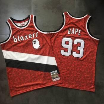 Men's Portland Trail Blazers #93 Bape Red 1983-84 Hardwood Classics Jersey