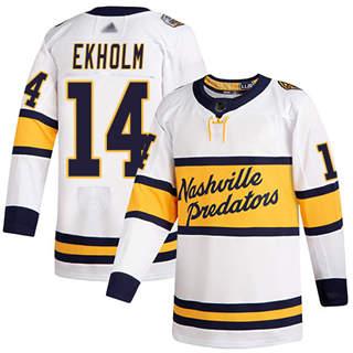 Men's Predators #14 Mattias Ekholm White Authentic 2020 Winter Classic Stitched Hockey Jersey