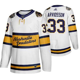 Men's Predators #33 Viktor Arvidsson White Authentic 2020 Winter Classic Stitched Hockey Jersey