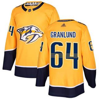Men's Predators #64 Mikael Granlund Yellow Home  Stitched Hockey Jersey