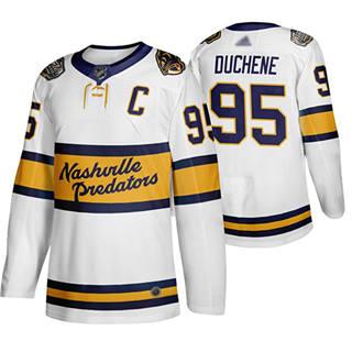 Men's Predators #95 Matt Duchene White Authentic 2020 Winter Classic Stitched Hockey Jersey