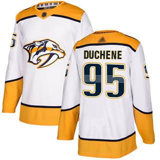Men's Predators #95 Matt Duchene White Road  Stitched Hockey Jersey