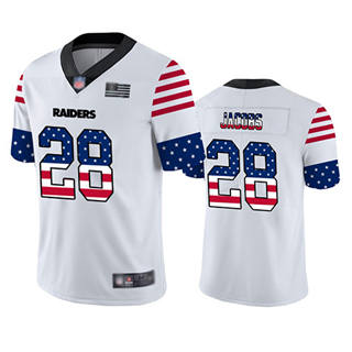 Men's Raiders #28 Josh Jacobs White Stitched Football Limited Independence Day Jersey