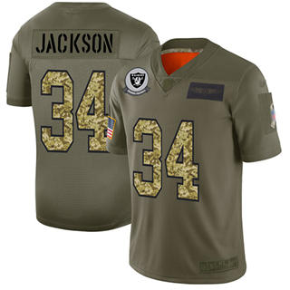 Men's Raiders #34 Bo Jackson Olive Camo Stitched Football Limited 2019 Salute To Service Jersey