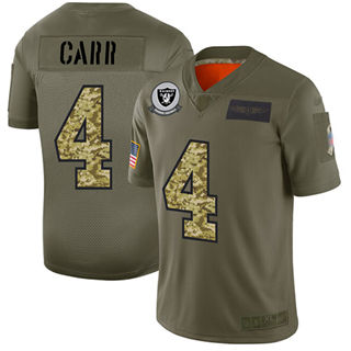 Men's Raiders #4 Derek Carr Olive Camo Stitched Football Limited 2019 Salute To Service Jersey