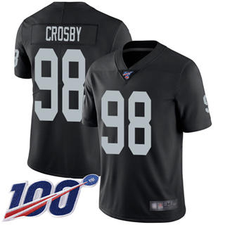 Men's Raiders #98 Maxx Crosby Black Team Color Stitched Football 100th Season Vapor Limited Jersey