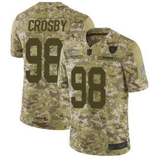 Men's Raiders #98 Maxx Crosby Camo Stitched Football Limited 2018 Salute To Service Jersey