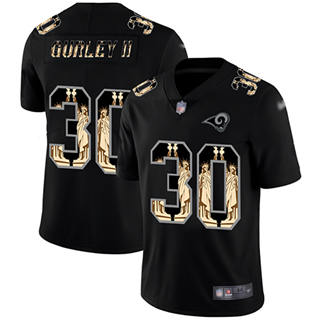 Men's Rams #30 Todd Gurley II Black Stitched Football Limited Statue of Liberty Jersey