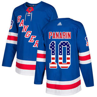 Men's Rangers #10 Artemi Panarin Royal Blue Home  USA Flag Stitched Hockey Jersey