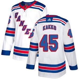 Men's Rangers #45 Kaapo Kakko White Road Authentic Stitched Hockey Jersey