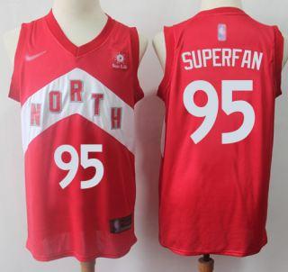 Men's Raptors #95 Superfan Red Basketball Swingman Earned Edition Jersey
