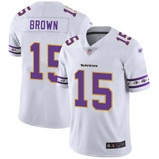 Men's Ravens #15 Marquise Brown White Stitched Football Limited Team Logo Fashion Jersey