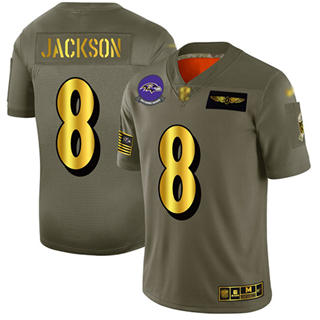 Men's Ravens #8 Lamar Jackson Camo Gold Stitched Football Limited 2019 Salute To Service Jersey