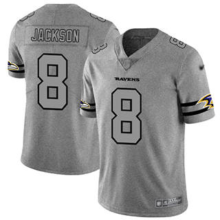 Men's Ravens #8 Lamar Jackson Gray Stitched Football Limited Team Logo Gridiron Jersey