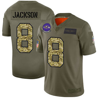 Men's Ravens #8 Lamar Jackson Olive Camo Stitched Football Limited 2019 Salute To Service Jersey