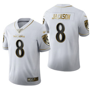 Men's Ravens #8 Lamar Jackson White Stitched Football Limited Golden Edition Jersey