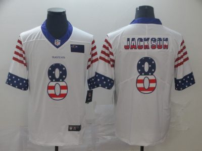 Men's Ravens #8 Lamar Jackson White Stitched Football Limited Independence Day Jersey
