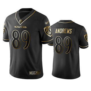 Men's Ravens #89 Mark Andrews Black Stitched Football Limited Golden Edition Jersey