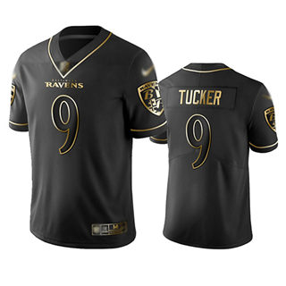 Men's Ravens #9 Justin Tucker Black Stitched Football Limited Golden Edition Jersey