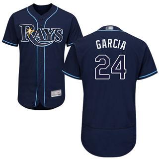 Men's Rays #24 Avisail Garcia Dark Blue Flexbase  Collection Stitched Baseball Jersey