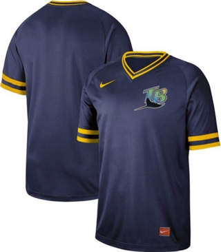 Men's Rays Blank Navy  Cooperstown Collection Stitched Baseball Jersey