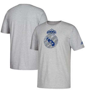 Men's Real Madrid  Brushed Stripes T-Shirt – Heathered Gray