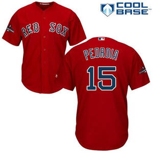 Men's Red Sox #15 Dustin Pedroia Scarlet 2018 World Series Champions Stitched Baseball Jersey