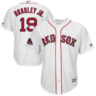 Men's Red Sox #19 Jackie Bradley Jr. White Home 2018 World Series Champions Stitched Baseball Jersey