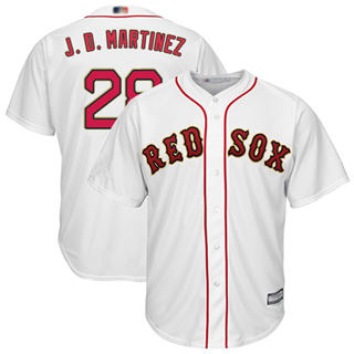 Men's Red Sox #28 J. D. Martinez White 2019 Gold Program Cool Base Stitched Baseball Jersey