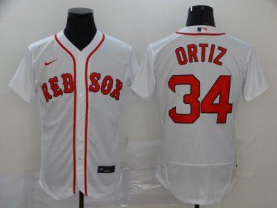 Men's Red Sox #34 David Ortiz White 2020 Baseball Flexbase Jersey