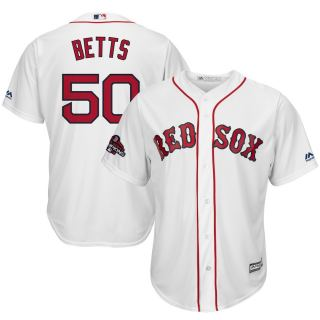 Men's Red Sox #50 Mookie Betts White Home 2018 World Series Champions Stitched Baseball Jersey