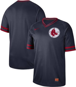 Men's Red Sox Blank Navy  Cooperstown Collection Stitched Baseball Jersey