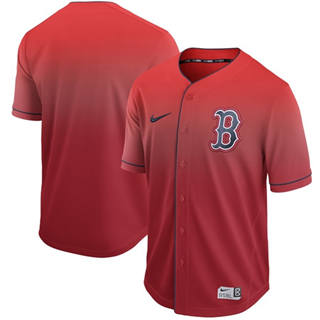 Men's Red Sox Blank Red Fade  Stitched Baseball Jersey
